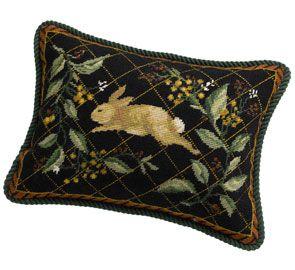 rabbit needlepoint pillow