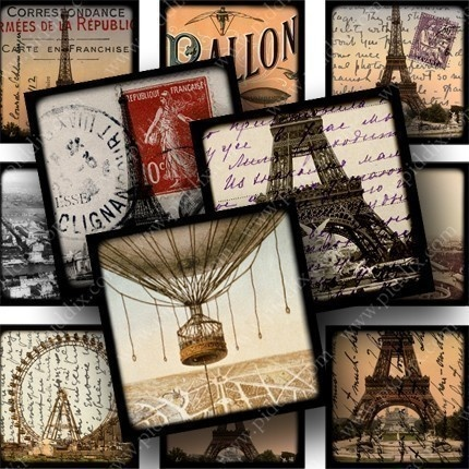 Sixty-three different vintage Paris images in this digital collage sheet, most from 1889, the year the Eiffel Tower was built. Printables 637 by piddix.