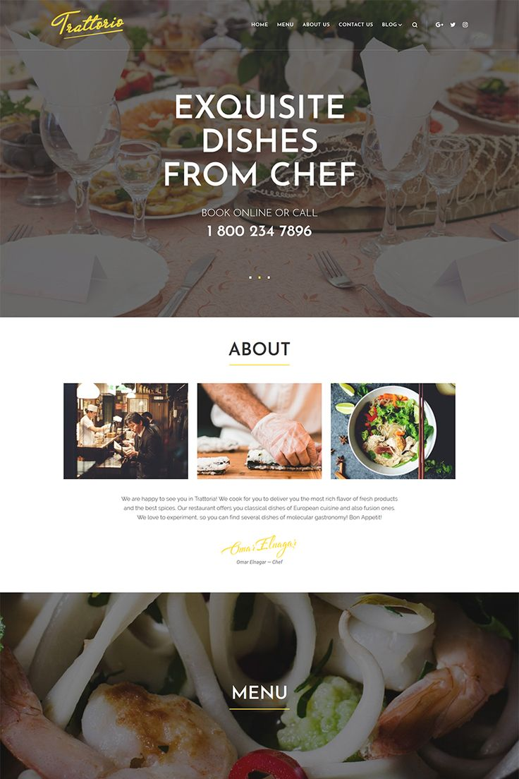 Create e website for your cafe with Trattorio - Restaurant Elementor WordPress Theme. The design is responsive, so all the awesome photos will look sharp on every device a client would like to use.#wordpresstheme #restauranttemplate #cafewebsitedesign  https://www.templatemonster.com/wordpress-themes/trattorio-restaurant-elementor-wordpress-theme-68534.html/