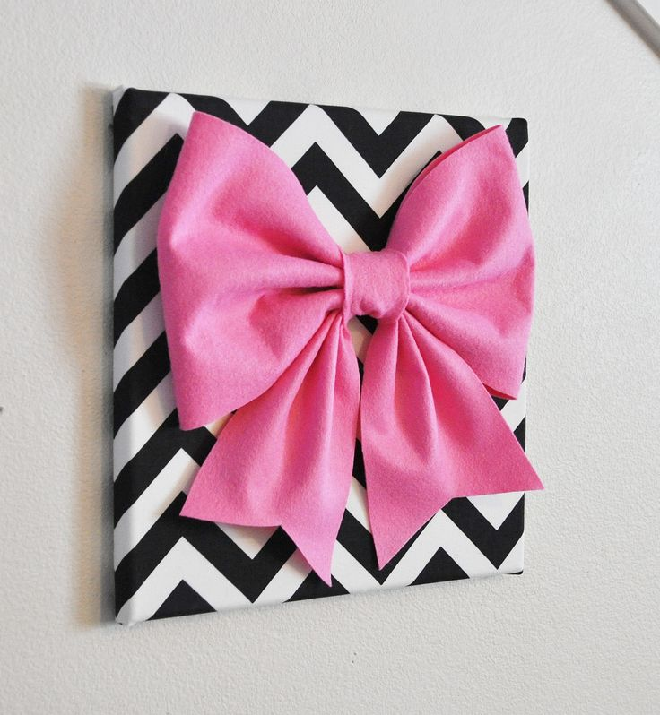"Large Pink Bow on Black and White Chevron 12 x12"" Canvas Wall Art- Baby Nursery Wall Decor- Zig Zag. $34.00, via Etsy."
