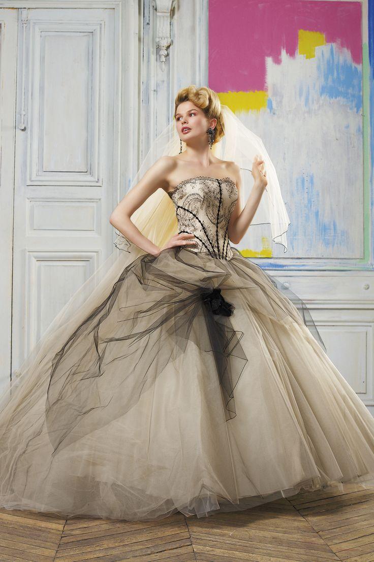 Amazing Eli Shay Wedding Dress Collections Cascade Gold Black Calais lace corset bi