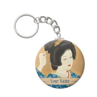 Ishida Waka Spring Sentiment japanese lady woman Key Chain