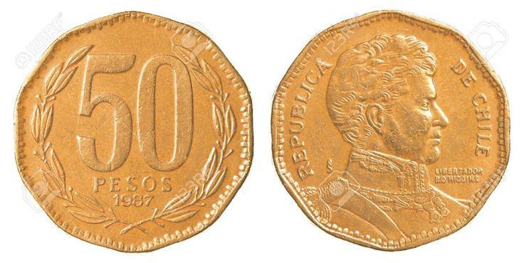 """Novo Peso chileno (1975-em uso) (x) 50 pesos (1981-2015) O: efígie de Bernardo O'Higgins (1778-1842, primeiro chefe de Estado do Chile independente de 1817-1823) e em espanhol """"República de Chile"""" e o nome do personagem/R: valor em folhas de louro;"""