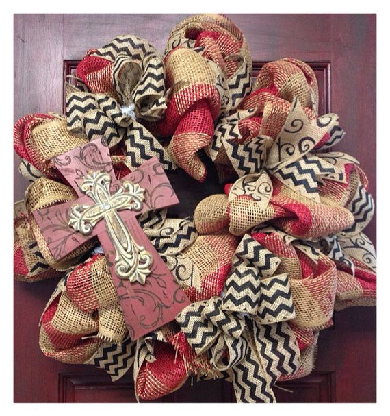 Everyday cross burlap wreath FREE SHIPPING by HolidayDressings, $75.00