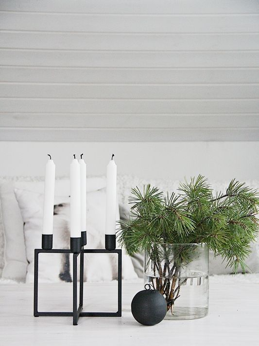 A GUIDE TO A SCANDINAVIAN CHRISTMAS- Salad Days, pine clipping in vase, candles