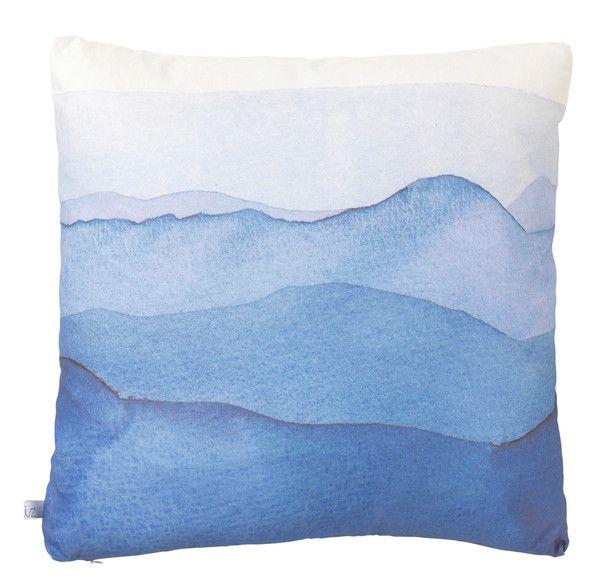 Blue Watercolour Mountains Cushion