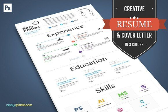 Creative Resume And Cover Letter by ZippyPixels on @creativemarket