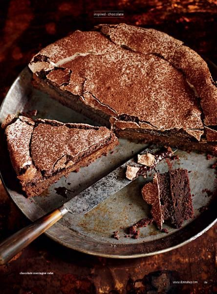 Donna Hay Chocolate meringue cake240g dark chocolate, chopped 180g unsalted butter, chopped  2 eggs  4 eggs, extra, separated  ½ cup (90g) brown sugar  1 teaspoon vanilla extract  ⅓ cup (50g) plain (all-purpose) flour, sifted  ½ teaspoon baking powder,⅓ cup (40g) almond meal 1 cup (220g) superfine sugar  1 t  white vinegar 3 t cornflour (cornstarch), ¼ cup (25g) Dutch cocoa, plus extra, for dusting