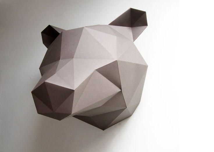 Trophée Animal Design Ours - Origami - 35€ - Les Esthètes