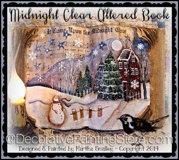 Midnight Clear Altered Book ePattern - Martha Smalley - PDF DOWNLOAD #paintingepattern #primwinterscene #alteredbook