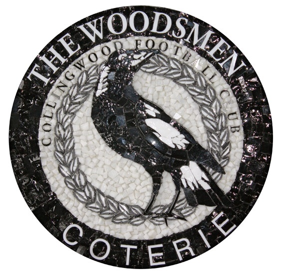 "Collingwood Football Club ""Woodsmen"" Emblem, by Fabian Scaunich at Mosaic Republic, using marble, smalti and porcelain."