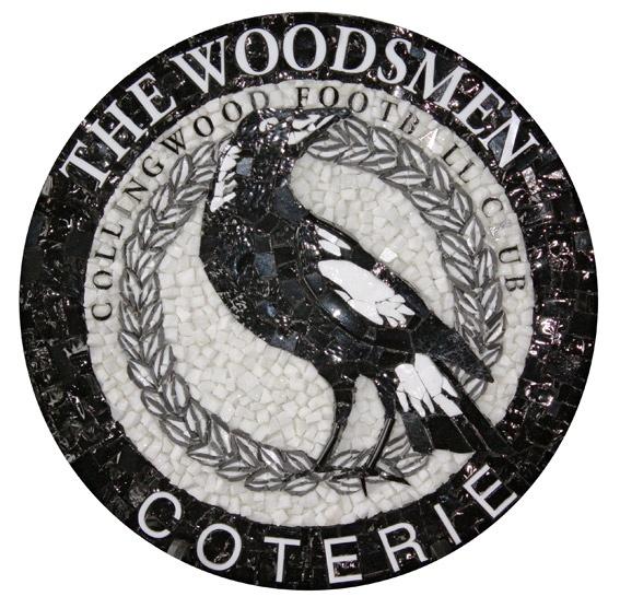 "Collingwood Football Club ""Woodsmen"" Emblem, by Fabian Scaunich at Mosaic Republic, using marble, smalti and porcelain."