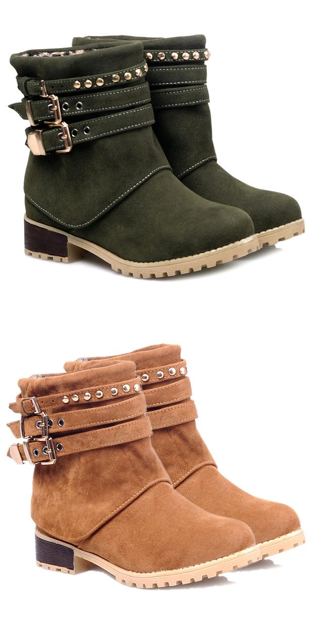$39.66 Metal Buckle Slip On Suede Ankle Boots
