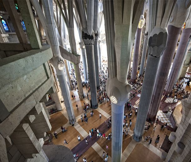 The Sagrada Família, one of Gaudí's most famous works in Barcelona Buy tickets online ahead of time 14,80 Euros to cathedral; 19,30 to cathedral and Gaudi House Museum or towers; open daily 9a.m.-8p.m.