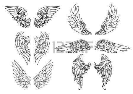 Alas heráldicos creado para el diseño del tatuaje o mascota Foto de archivo