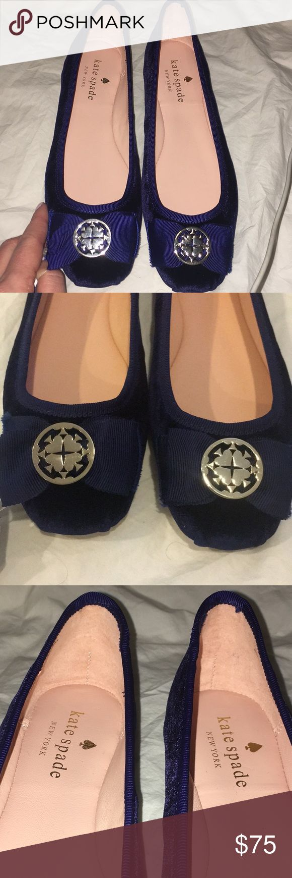 NWOT Kate Spade Velvet ballerina flats size 6. NWOT Kate Spade Women's velvet Ballerina flats- blue. Brand new, never worn, runs true to size! Does not come with box. kate spade Shoes Flats & Loafers