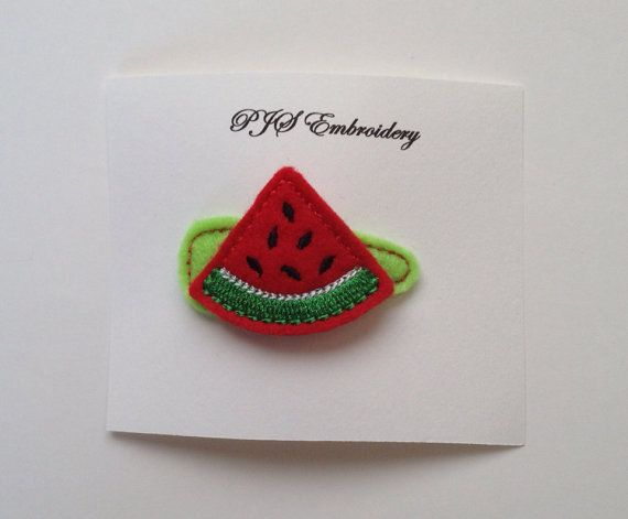 Watermelon Slice Felt Snap Clip Barrette by PJSEMBROIDERY on Etsy, $3.00