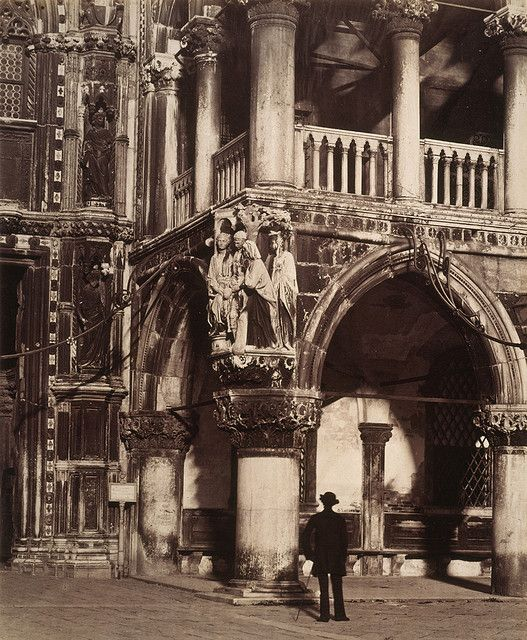 Angel of the Portico of the Ducal Palace, Venice - with carving of 'The Judgment of Solomon'.  Carlo Naya, 1860s