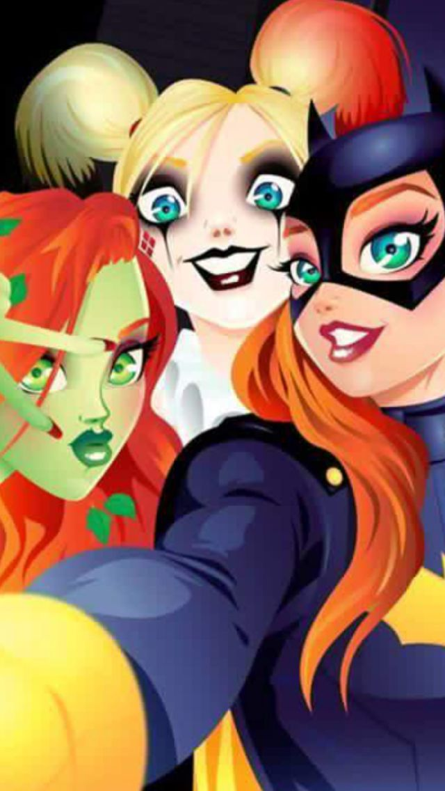 Batgirl, poison ivy, Harley Quinn (not mine, cropped to fit phone)