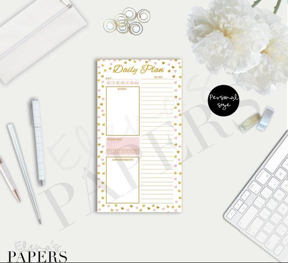 Printable DAILY PLAN insert for your personal by ElenasPapers