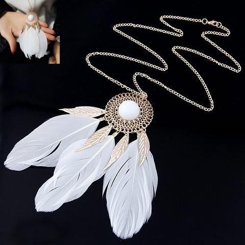 Vintage Carved Flower Feather Necklace