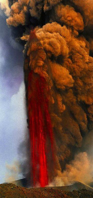 Lava Fountain of Mt. Etna Volcano, Italy   by Tom Pfeiffer