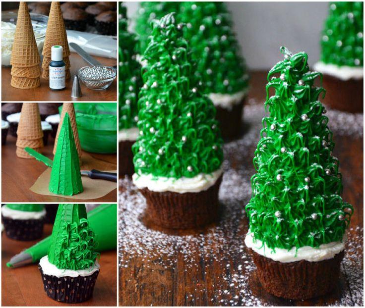 Christmas Tree Chocolate Cupcakes wonderfuldiy    Wonderful DIY Amazing Christmas Tree Cupcake