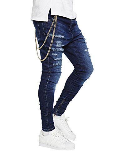 Sik Silk Men's Washed Distress Hareem Skinny Jeans, Blue
