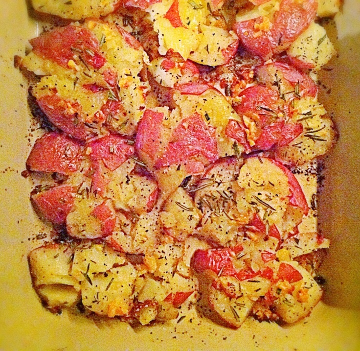 Hot damn, I love these  smashed red skin potatoes