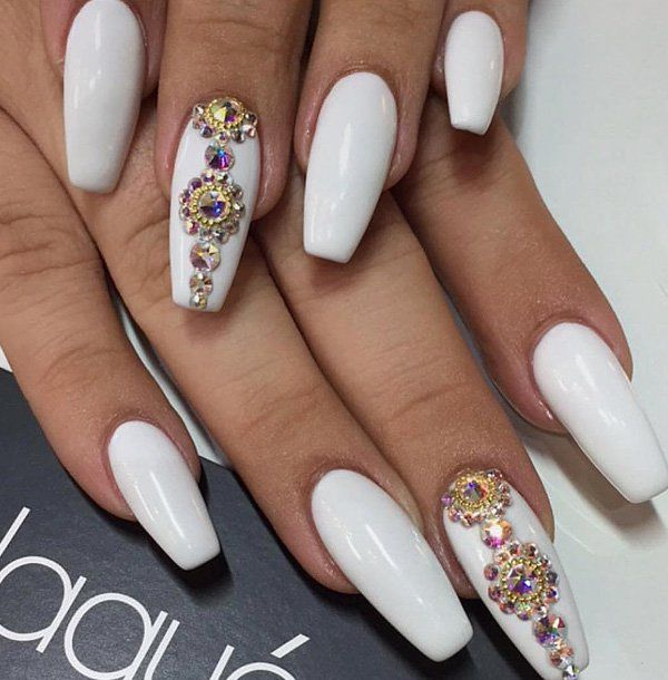 50 Rhinestone Nail Art Ideas Coffin Nail Art Ideas Pinterest