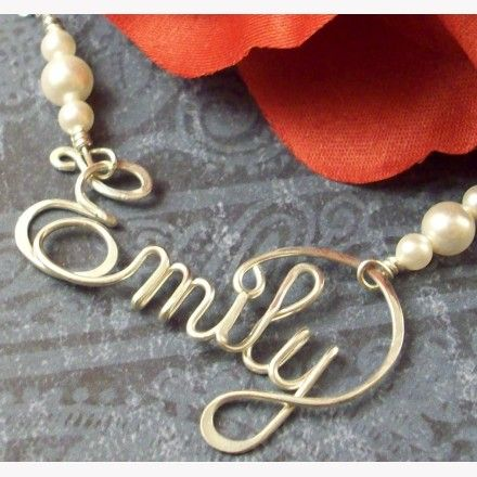 Calligraphy style sterling silver name necklace jewelry Calligraphy jewelry