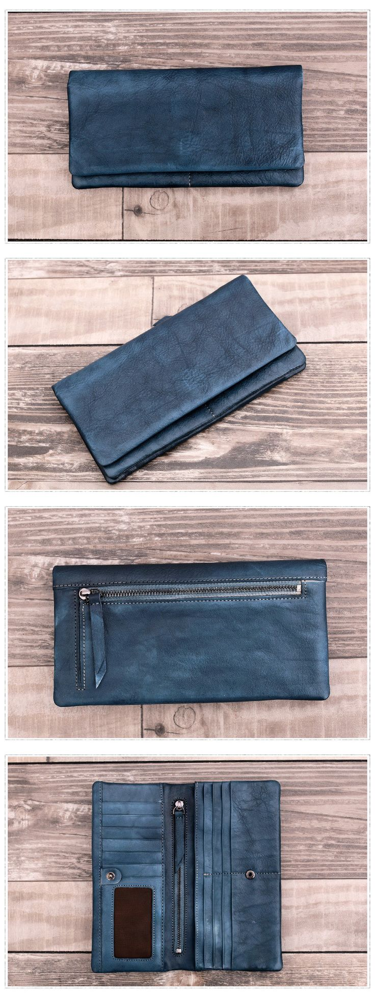 Vintage Style Genuine Natural Leather Wallet Long Wallet Men's Wallet Dimensions: Length: 19.5 cm; Height: 10 cm Color: Blue/Black/Grey