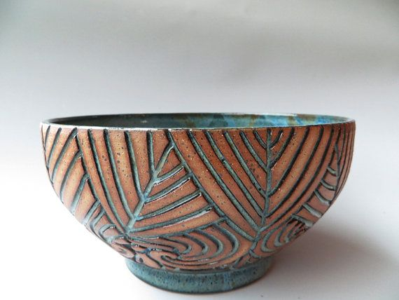 Hand Carved Multi Line Blue Bowl