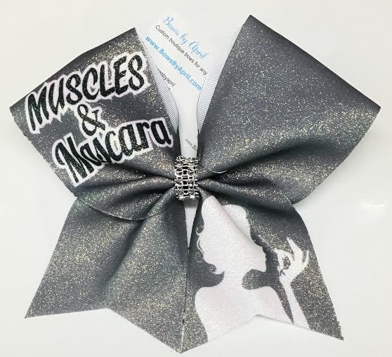Bows by April - Muscles and Mascara Grey Glitter Cheer Bow, $15.00 (http://www.bowsbyapril.com/muscles-and-mascara-grey-glitter-cheer-bow/)
