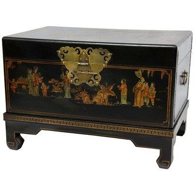 """Oriental Furniture Asian Decorative Furnishings, 26-Inch Black Lacquer Small Trunk Oriental Hope Chest by ORIENTAL FURNITURE. $338.00. Hand painted art motif, butterfly hasp w/lock pin, matching ming stand. See our collection of ming lacquered furniture and décor on amazon.com. 26.25""""w by 17.25""""d by 18""""h, classic ming design black lacquer hope chest. Oriental decoupage lining printed w/chinese characters. Black lacquered keepsake trunk with fine hand-painted ming e..."""