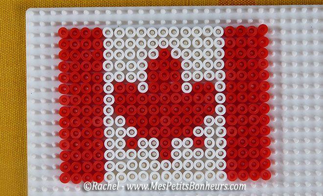 modele drapeau canadien perles hama