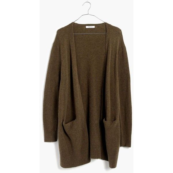 MADEWELL Ryder Cardigan Sweater ($98) ❤ liked on Polyvore featuring tops, hthr elm, stretchy tops, madewell tops, slouchy tops, oversized tops and brown top