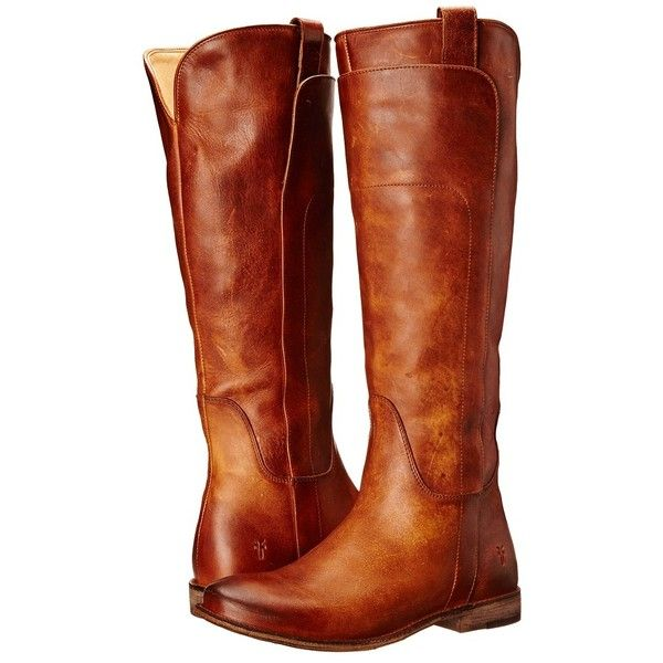 Frye Paige Tall Riding (Cognac Antique Pull Up) Women's Pull-on Boots ($388) ❤…