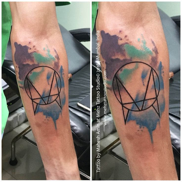 "Skillex ""Owsla"" logo watercolour Tattoo Done by Mahesh Amin at Mehz Tattoo Studio.  Hope u guys like this... Your Views,Comments and Shares would be appreciated ! For more information visit and like us at - Mehz Tattoo Studio . Mumbai. India"