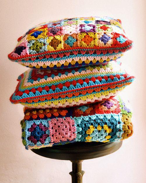 Crochet granny squares pillows