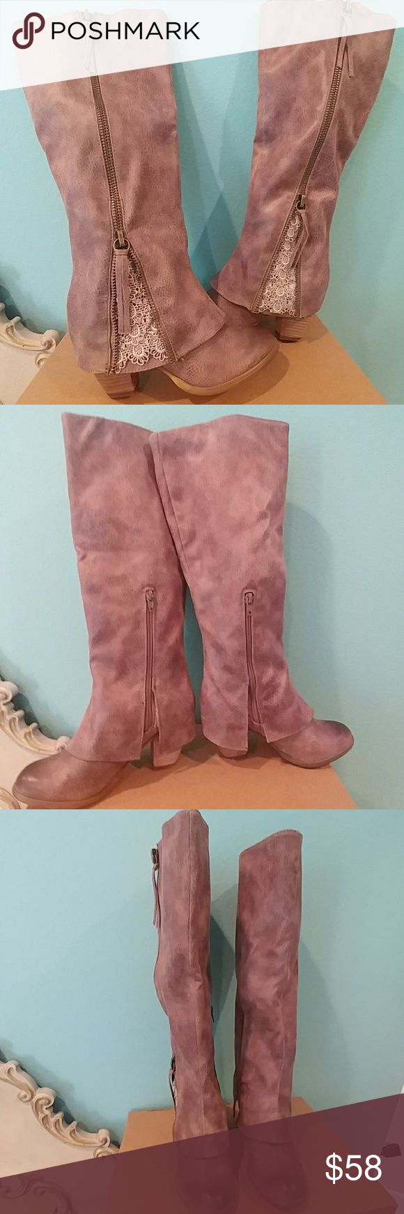 """🆕Not Rated Spiffy boots🆕 Brand new never worn. Taupe boots, Man-made upper & lining, side side closure, round toe, lace detailing, light padded footbed, stacked heel, synthetic sole. Heel: 3 """" Shaft: 16"""" Not Rated Shoes Heeled Boots"""