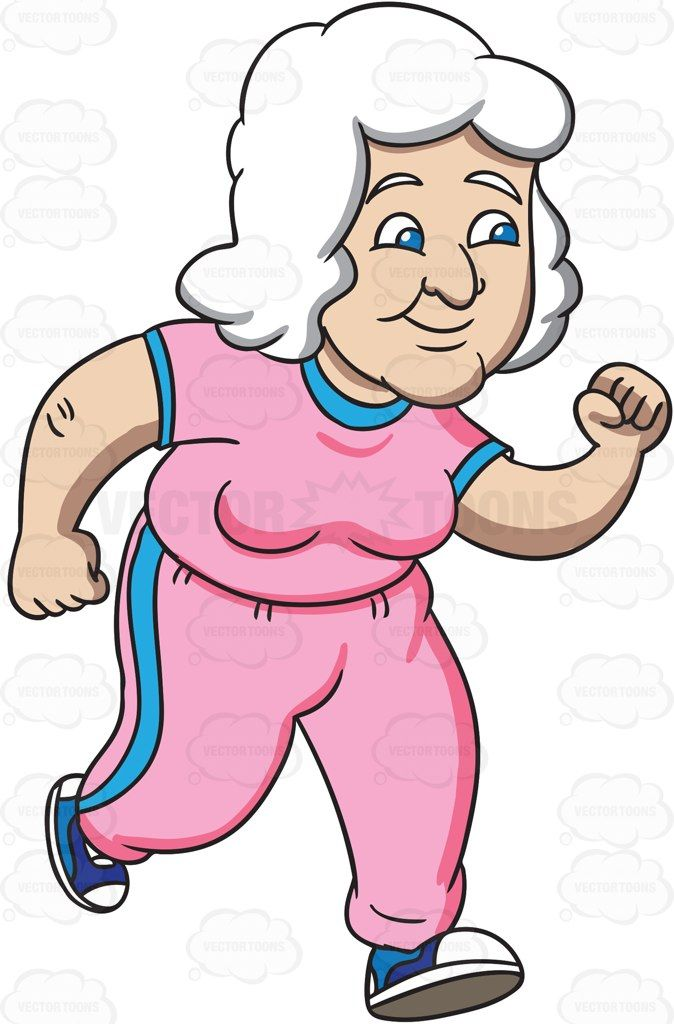 A charming grandma sprints for a workout #cartoon #clipart #vector #vectortoons #stockimage #stockart #art