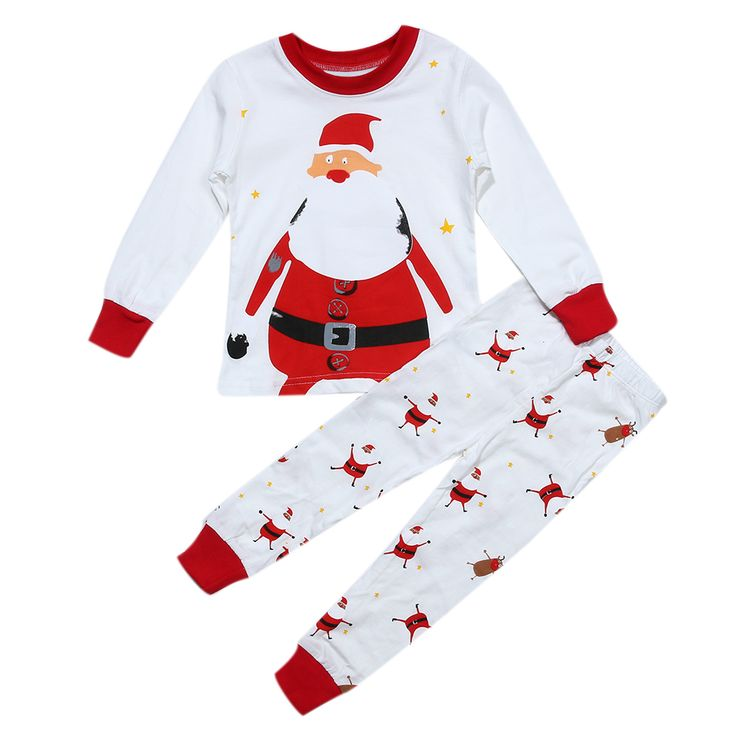 2pcs Unisex Baby Kids Clothes Set Spring Autumn Claus Printed Long Sleeve T-Shirt+Long Pants Kids Children Clothing Set Outfits #Affiliate