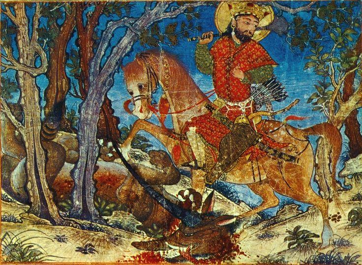 Battle Bahram'gur with horned wolf, epic Dmvt, the Tabriz School, Harvard University Art Museums America