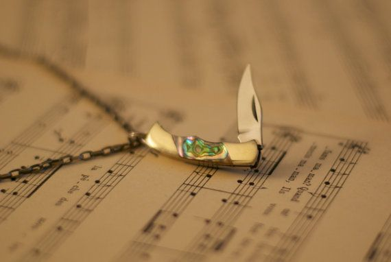Miniature Pocket Knife Necklace with Mother of Pearl by ViceAndVirtueNYC