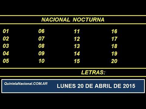 Quiniela Nacional Nocturna Lunes 20 de Abril de 2015