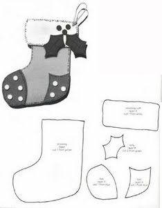 bota de Navidad fieltro - Las chorradikas de Laury: Patrón bota de Navidad fieltro