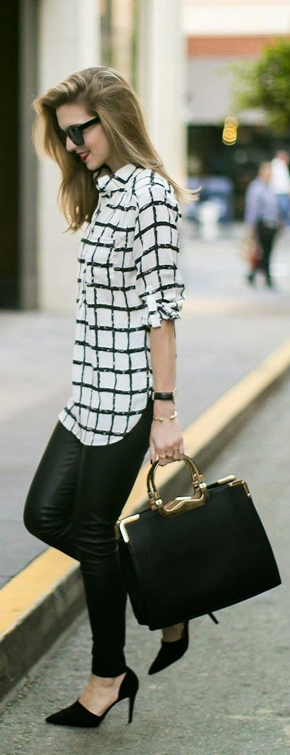 Stripe top with black leather skiny pants and handbag. | Office Style