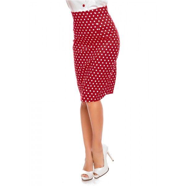Falda Chic Pencil Skirt in Red Polka Dots - Skirts