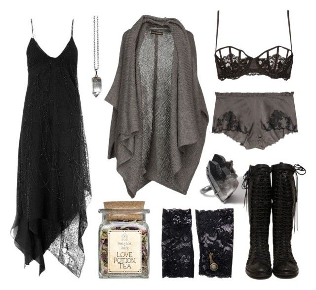 """you are my favourite background noise"" by n-nyx ❤ liked on Polyvore featuring Religion Clothing, Yves Saint Laurent, Carine Gilson, La Perla and ASOS"